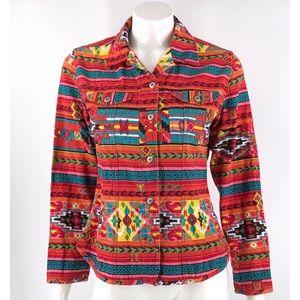 Chicos Jacket Sz 1 Medium Aztec Southwestern Print